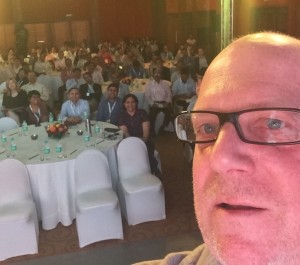 Taking a selfie on stage in Goa, India
