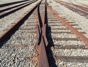 Railroad tracks converging